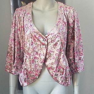 Anthropologie Tulle Velvet Floral Blazer Jacket